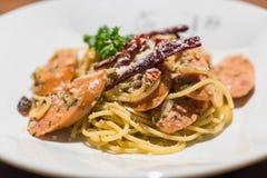 Pasta with germany sausage. Stir-fried pasta with germany sausage Royalty Free Stock Photography