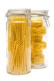 Pasta in glass jar stock image