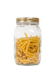 Pasta in glass jar Royalty Free Stock Image