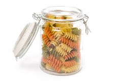 Pasta in a glass jar Stock Photo