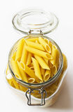 Pasta in glass jar Royalty Free Stock Images