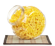 Pasta in glass pot Royalty Free Stock Photo