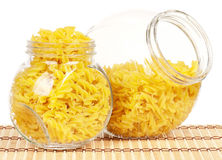 Pasta in glass pot Royalty Free Stock Photography
