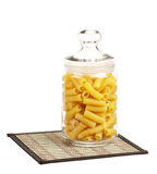 Pasta in glass pot Stock Photography
