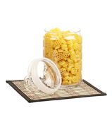 Pasta in glass pot Royalty Free Stock Image