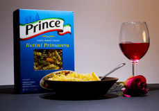 Pasta, Goblet of Wine and a Rose Stock Images
