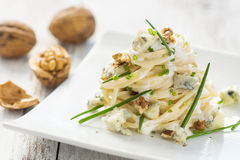 Pasta with gorgonzola Stock Images