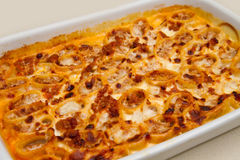 Pasta gratin baked Stock Images