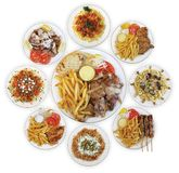 Pasta and Greek meat dinners Stock Photo