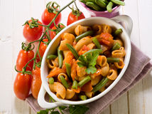 Pasta with green beans and fresh Royalty Free Stock Image