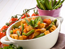 Pasta with green beans and fresh stock photo