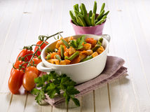 Pasta with green beans and fresh Stock Image