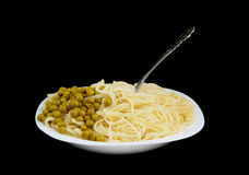 Pasta and green peas with fork isolated Stock Photo