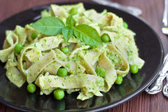 Pasta with green pesto Stock Photography