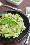 Pasta with green pesto Royalty Free Stock Image