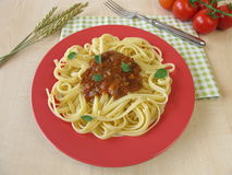 Pasta with green spelt bolognese Royalty Free Stock Photo