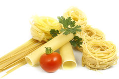 Pasta with greens and tomato Royalty Free Stock Images