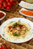 Pasta with grilled chicken royalty free stock image