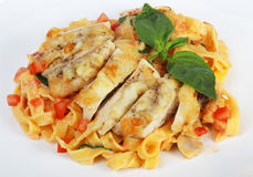 Pasta with grilled chicken and tomatoes Royalty Free Stock Photo