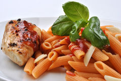 Pasta with grilled turkey breast Stock Photo