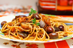 Pasta with ground meat and eggplants royalty free stock photos