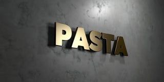 Pasta - guld- tecken som monteras på den glansiga marmorväggen - 3D framförde den fria materielillustrationen för royalty Royaltyfri Illustrationer