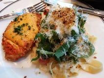 Pasta höna, salat, läcker mat för ost arkivbilder
