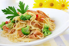 Pasta with ham Stock Images