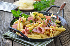 Pasta with ham Royalty Free Stock Photography