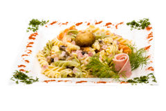 Pasta with ham and mushrooms Royalty Free Stock Photography