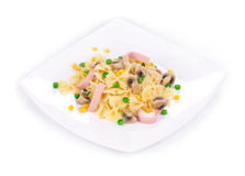 Pasta with ham Stock Image
