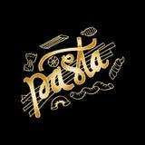 Pasta hand lettering with various Italian Pasta stock illustration