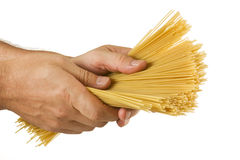 Pasta in hands isolated Royalty Free Stock Photo