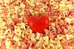 Pasta and a heart Stock Photo