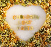 Pasta in a heart shape Stock Images