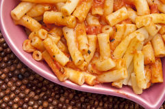 Pasta in Heart Shaped Bowl Stock Image
