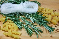 Pasta with herbs 3. Pasta with herbs, coriander ceeds and noodles stock photo