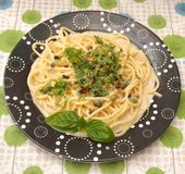 Pasta with herbs Royalty Free Stock Image