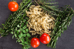 Pasta Herbs and Tomatoes Stock Photography