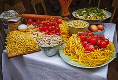 Pasta and homemade food arrangement outside a restaurant royalty free stock photo