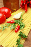 Pasta with  hot red pepper Stock Image