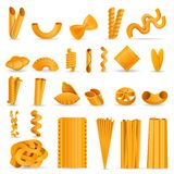Pasta icon set, cartoon style stock illustration