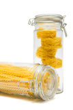 Pasta In Glass Jar Stock Photo