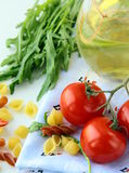 Pasta ingredient olive oil, basil, tomato Royalty Free Stock Photos