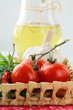 Pasta ingredient olive oil, basil, tomato Royalty Free Stock Image