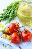 Pasta ingredient olive oil, basil, tomato Stock Photos