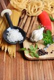 Pasta and ingredients Royalty Free Stock Images