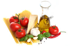 Pasta Ingredients. On a white background Stock Image