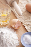 Pasta ingredients. Closeup on a wooden table Stock Photo