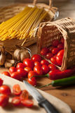 Pasta ingredients. Shoot in kitchen Royalty Free Stock Images